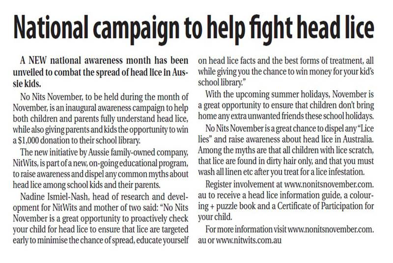 NitWits No Nits November - Head Lice Awareness Campaign - Namoi Valley Independent