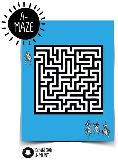 White maze on blue background with Lenny + Friends around it and A-Maze in corner